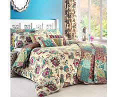 Dreams n Drapes, Biancheria per letto Super King size, incl. copripiumino e federe, Multicolore (Teal)