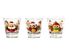 H&H Confezione 6 Bicchiere Liquore, Gufi Natale, 8.5 cl