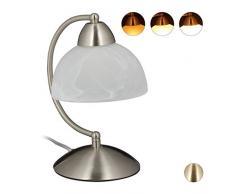 Relaxdays Lampada da Tavolo Vintage, Funzione Touch, Vetro & Ferro, Regolabile, E14, 230V, 25x15x19 cm, Argento, 1 pz