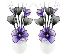 Flourish Creative Florals Coppia di Fiori Artificiali Viola e Nero in Vaso Nero, Decorazioni da Tavolo, Accessori per la casa, Regali, Ornamenti, Vetro, Purple in White Vase, 11.5 x 11 x 32 cm