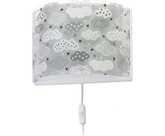 Dalber - Lampada da parete E-27, Nuvole grigio, Multicolore, 31 x 14.5 x 22.5