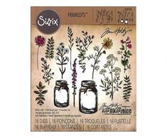 Sizzix 662270 Fustella Framelits Vaso da Fiori di Tim Holtz, Carbon Steel, Multicolore, 21 x 10.8 x 0.2 cm