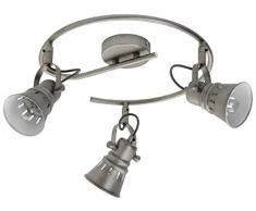 Mathias 3360543 Detroit - Spirale con 3 faretti, 18 W, E14 230 V, diametro di 35 cm, altezza 16 cm, colore grigio