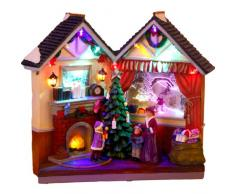 Star - Decorazione natalizia illuminata a LED multicolori, ca. 28 x 25 cm, soggetto: scambio dei regali