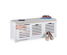 Relaxdays Panca da Cucina con vano portaoggetti, 3 cestini e Cuscini, Stile Rustico, 44 x 105 x 35 cm, Colore: Bianco, 1