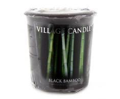 Village Candle Black Bamboo Candela Votiva, Cera, Nero, 4.7x5.2x5.3 cm