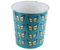 JVL, Pattumiera in plastica, 25 x 26,5 cm, Motivo con Farfalle, Colore: Blu Blu