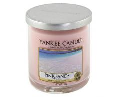 Yankee candle 1205361E Pink Sands Candela pillar Décor piccola, Vetro, Rosa, 8.5x8.5x8.8 cm