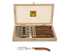 Laguiole Claude Dozorme 2.60.001.51 - Scatola con 6 forchette da bistecca con manici in legno esotico e giunti ottonati