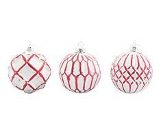 Villa dEste Home Tivoli Xmas Set 3 Palle di Natale, Bianco, 8x8x0.1 cm 3 unità