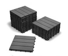 SAM® Mattonelle in WPC ad incastro per terrazzo, set di 22 pezzi di circa 2 m², colore grigio antracite, con 4 listelli, pavimentazione per balcone con struttura di drenaggio sottostante
