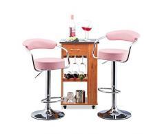Relaxdays 10022910_52 Set 2 Sgabelli a Bar Altezza Regolabile Girevoli con Schienale in Metallo HxLxP: 106 x 52 x 50 cm Rosa