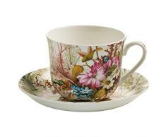 Maxwell & Williams Kilburn Tazza per la Colazione, con Piattino, Tazza per Il caffè e Il tè, Ocean Fantasy, Porcellana, WK02300