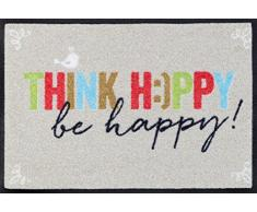 Wash+Dry Think Happy Zerbino, Acrilico, Grau, 60 x 40 x 0.7 cm