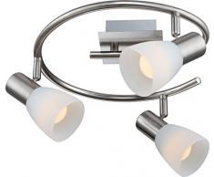 Globo Parry I - Lampada E14, nichel satinato, 3 faretto LED