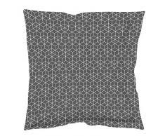 Douceur dIntérieur Optic - Federa cuscino volante piatto, in cotone, colore: antracite/bianco, Cotone, antracite/bianco, 63x63x63 cm