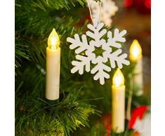 Set 10 candeline Bianche a Batteria per Albero con Clip di Fissaggio Verde Scuro, Telecomando ON-off, LED Bianco Caldo, luci per Albero di Natale, candeline LED