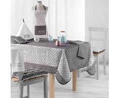 Charme et Douceur, Lucie, tovaglia rettangolare, Poliestere, grigio, 150 x 200 cm