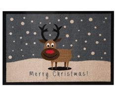 Hanse Design Home 103045Â Zerbino Zerbino Merry Christmas Reindeer Renna, Poliammide, Grigio Marrone, 40Â x 60Â x 0.7Â cm