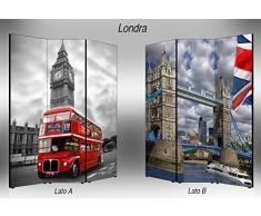 Separè bifacciale artistico Divisorio 3 ante su tela Londra 176x3.2x135.6 cm