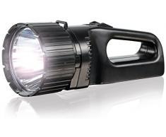 ANSMANN Torcia LED Future HS1000FR - 650m LED 5W da 330 Lumen luminosità 100% e 20% ECO - Faretto da lavoro ricaricabile portatile a batteria USB