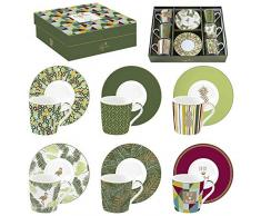 Easy Life 126CMTP - Set di 6 tazze da caffè in porcellana, motivo: Mania Tropical, multicolore