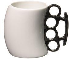 Fisticup Tazza da caffè con manico a tirapugni, colore: Bianco cromato