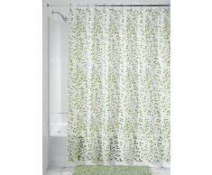 InterDesign Botanical EVA/PEVA Tende doccia tessuto idrorepellente, Tenda da vasca da bagno in EVA con misure 183,0 cm x 183,0 cm, verde/bianco
