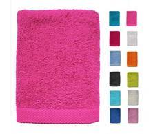 DHestia - Set di Asciugamani da Bagno e Doccia, in Cotone 100%, 500 g/m², Colori e Misure Grandi, Colore: Fucsia, 50 x 100 cm (Confezione da 3)