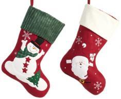 Brauns Heitmann 82121 - Coppia di calze di Natale, decorazione assortita con Babbo Natale o pupazzo di neve, 40 cm