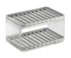InterDesign Forma Porta spugne cucina con 2 ripiani | Portaspugne per accessori cucina | Ideale per spugne, pagliette e molto altro | Acciaio/plastica spazzolato/trasparente