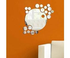 WALPLUS - Set di specchi circolari Adesivi da Parete, Motivo Tridimensionale, Colore Argento