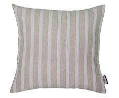 Tom Tailor 564138 fodera per cuscino T-linen Stripes, 60 x 60 cm, tessuto misto, colore bianco