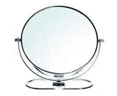 HIMRY pieghevole a doppia faccia specchio cosmetico 8 inch, 7 X Ingrandimento, girevole a 360 °. Specchio Cosmetico Specchio da tavolo, 2 Specchio: normale e 7 – Ingrandimento, cromato, KXD3125 – 7 X