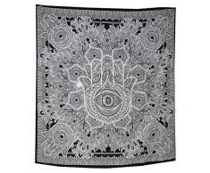 Arazzo in cotone indiano con motivo mandala in bianco e nero ottimo regalo di Natale Black 220/x 230 cm Cotone 220*240 cms