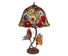 World Art, TWGF16826, Lampada da tavolo fiori e farfalle, Lampade Tiffany, 41 x 68 x 41 Cm