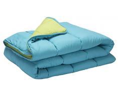 Pikolin Home - Piumino / trapunta in fibra, effeto piumino, autunno-inverno, 300 gr/m², 150 x 220 cm, letto da 80/90, colore turchese