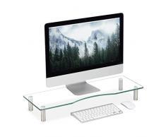 Relaxdays Supporto Monitor, Alzatina per TV, Standing Computer Desk, Rialzo Scrivania, Regolabile, 70x24 cm, Trasparente, Vetro, Acciaio Inox, Alluminio, 1pz