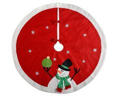 WeRChristmas-Pupazzo di neve albero di Natale decorazione gonna, Tessuto, rosso/bianco, 120cm, grande