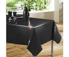 DECORLINE 140 x 240 cm, T %2FC Laquee Unie Tovaglia, colore: nero lucido, colore: nero