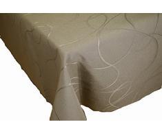 Comptoir du Linge CSI09012 - Tovaglia quadrata in tessuto/poliestere/cotone/teflon, 180 x 180 x 0,5 cm, colore: tortora