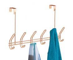 iDesign Attaccapanni ingresso con 6 ganci doppi, Attaccapanni da porta in metallo, Appendiabiti per porta ideale per giacche, borse e sciarpe, rame