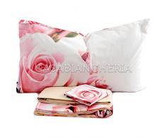 Gabel Planet Flowers Rose Garden Completo Lenzuolo Copriletto, 100% Cotone, Multicolore, Matrimoniale, 290x250x1 cm