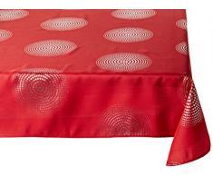 Douceur dIntérieur - Tovaglia rettangolare Atome, Poliestere, rosso, 150 x 300 cm