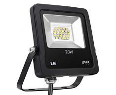 LE, faretto LED da esterno da 20 W, 1600 lumen, equivalente a faretti alogeni da 200 W, impermeabile IP65, luci di sicurezza, luce bianca diurna 5000 K, luci esterne da giardino