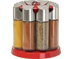 Emsa Galerie 2202082690 Portaspezie Girevole con 8 Spezie, Vetro, Effetto Alluminio/Rosso