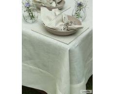 LinenMe 180 x 180 cm tovaglia in lino Emilia, biancastro