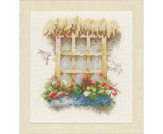 Unbekannt LANARTE PN 0162524Â contato Confezione Finestra con fioriera zaehlst Punto Croce, Cotone, Multicolore, 11.0Â x 12.0Â x 0.30Â cm