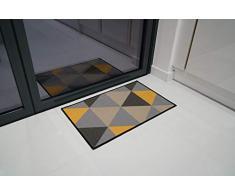 Serdim Rugs Gelback Tappeto Antiscivolo dal Design Geometrico per Cucina e corridoi Multiuso – tappetini, Oro Scuro, 40 x 60 cm(14 x112)