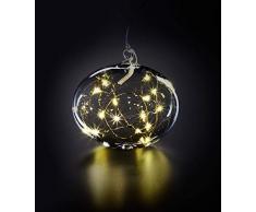 Krinner Lumix Light Ball L - Palla di Natale in vetro soffiato a bocca, senza fili, con base appiattita, adatta anche per decorazioni da tavolo, 0,014 W, colore: Trasparente